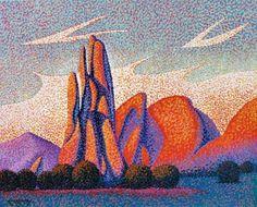 Garden of the Gods Art Original 16x20 Pointillist Painting by Ed McCarthy