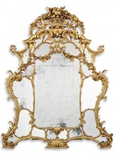 John Linnell (1729-1796) - George II Overmantel Mirror. Carved & Gilt Wood and Mirrored Glass. England. Circa 1759.