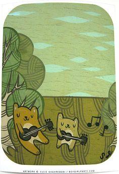 Dueling Bears Art Print