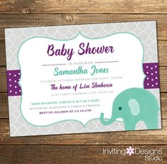 Elephant Baby Shower Invitation, Watercolor, Girl, Purple, Mint, Mint Green, Girl Baby Shower (PRINTABLE FILE) by InvitingDesignStudio on Etsy