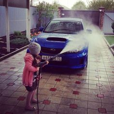 There's some kick to those power washers...But she's got it going!