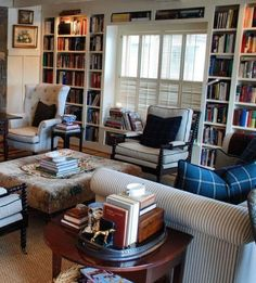 I love this room. Mary Carol Garrity's charming cottage featured on her blog @nellhills Just the right amount of organized clutter - and of course books, books, and more books.