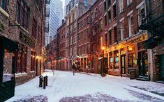 Ciudad de Nueva York, Manhattan, EE.UU., Ciudad de noche, invierno, luces Fondos…
