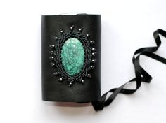 Recycled leather cuff with tibetan turquoise and macrame by kapriscrea on Etsy, CHF120.00