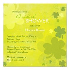 Irish Shamrocks Green Bridal Shower Invitations