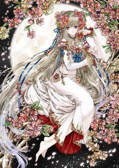 Garnet princess with long white blond hair, violet gray eyes, red flowers, & white dress by manga artist Shiitake.