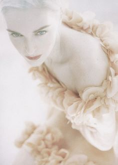 """Lumiéres du soir"" by Javier Vallhonrat for Vogue Paris February 1992 Ange Demon, Ethereal Beauty, Vanilla Cream, French Vanilla, Color Rosa, Pretty Pastel, Winter White, How To Fall Asleep, The Dreamers"