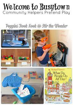 Welcome to Busytown Pretend Play | Stir the Wonder #poppinsbooknook #playmatters #preschool