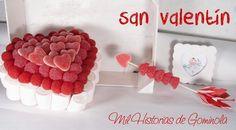 San Valentín. Tarta de Chuches en forma de corazón y flechazo con Chuches en rojo