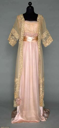 Circa 1912 Silk and Lace Gown: Chiffon with Milanese tape lace bodice band, Coat of cream Gauze with hand made Irish Crochet.