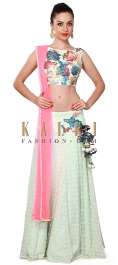 Buy Online from the link below. We ship worldwide (Free Shipping over US$100). Product SKU - 309509. Product Price - $539.00. Product link - http://www.kalkifashion.com/min-lehenga-adorn-in-printed-applique-embroidery-only-on-kalki.html