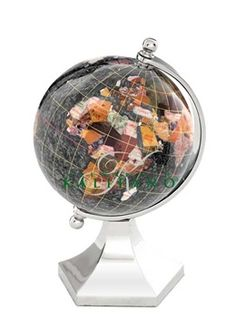 $99 The Black Opalite Gemstone Globe 4-inch Contempo Silver Arch and Base is a great choice for a decorative desk globe. Manufactured with some of the best quality semi-precious gemstones you will not be disappointed by the layout and presentation of this design. #desktopglobes #floorglobes #oldworldglobes #antiqueglobes #education #geography #teaching #vintage #toys #gemstoneglobes #4inchglobes