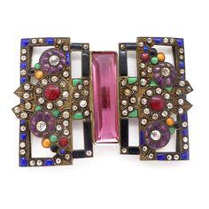 Vintage Art Deco Guilloche Enamel Paste Floral Buckle | Clarice Jewellery