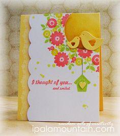 Card: Garden, floral, bird, birdhouse.  Lovely card uses several techniques.