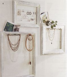 Frames and wire - jewelry display Diy Picture Frames On The Wall, Frame Wall Collage, Picture Frame Crafts, Picture Frame Molding, Collage Picture Frames, Frames On Wall, Pinterest Jewelry, Jewellery Display, Display Ideas