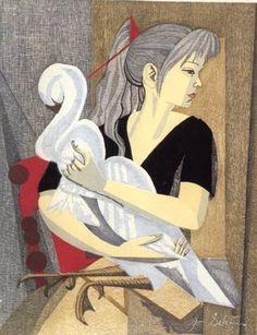 Jun-ichiro Sekino (1914-1988) - Girl with Swan