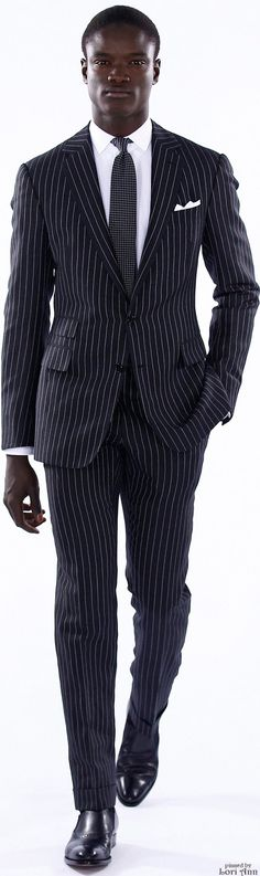 Love the pinstripe and the ticket pocket. Ralph Lauren Spring 2016