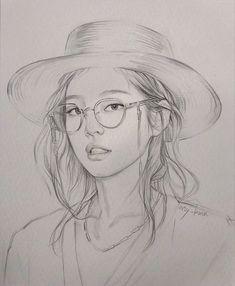 Beautiful Pencil Sketches, Art Drawings Sketches Simple, Pencil Drawing Images, Watercolour Drawings, Cute Canvas Paintings, Black Cat Art, Art Painting Gallery, Sketches Of People, Kpop Drawings