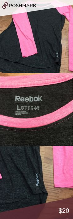 Summer reebok baseball tee size L LOVE this shirt. It was just slightly too big for me. It's a slight high low, so it comes down a little farther in the back than it does the front. It's a 3/4 sleeve and hits jut above the wrist. Feel free to make an offer in interested! Reebok Tops Tees - Long Sleeve