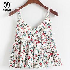 MUMUZI Sexy off shoulder print blouse shirt Casual summer short flare sleeve blouse chemise femme Flower soft beach blusas tops #Affiliate
