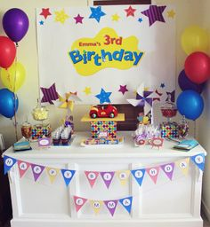 WIGGLES - Wiggles Sweet Table / Candy Buffet Backdrop for a Wiggles Party - Jo Studio - Party Printables and Custom Invitations Wiggles Birthday, Wiggles Party, Baby First Birthday, Boy Birthday Parties, Birthday Ideas, Logan, Wiggles Cake, Emma Wiggle, Candy Buffet