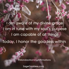 I am aware of my divine grace, I am in tune with my soul's purpose. I am capable of all things. Today, I honor the #Goddess within. #MondayMorningAffirmations