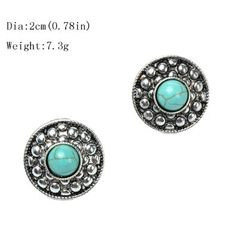 Ginasy Silver Plated Round Turquoise Stud Earrings | Amazon.com
