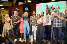 The cast of Suicide Squad film participates in an autograph session for fans in DC's 2016 Comic-Con booth at San Diego Convention Center on July 23, 2016 in San Diego, California.