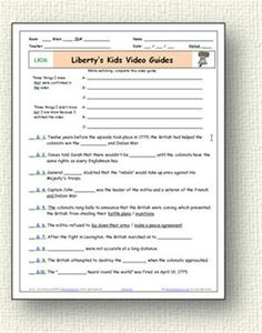 Free printable worksheets for Liberty's Kids, Bill Nye and Magic School Bus