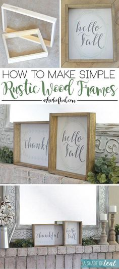Diy Home : Illustration Description How to make Simple Rustic Wood Frames – 1 wide x thick wood, nail gun, Minwax Weathered Oak & Dark Walnut combined, print out seasonal art prints and staple to the back, so easy to change out the signs -Read More – Crafts To Make, Diy Crafts, Rock Crafts, Wood Nails, Diy Wood Signs, Rustic Wood Signs, Diy Wood Projects, Nail Gun, Woodworking Projects