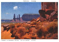 Summer in Monument Valley by Calvin Liang, Oil, 20 x 30 Landscape Art, Landscape Paintings, Desert Art, Traditional Paintings, Modern Landscaping, Environmental Art, Plein Air, Painting Inspiration, Monument Valley