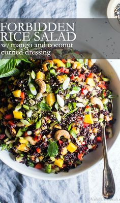 Packed with crunchy and creamy Thai flavors, simple to make Forbidden Rice® Salad with Mango, Bok Choy and Coconut Curried Dressing is meal prep easy, hearty and so satisfying! This recipe is vegetarian, vegan and gluten free. Summer Salad Recipes, Healthy Salad Recipes, Clean Recipes, Whole Food Recipes, Vegetarian Recipes, Cooking Recipes, Vegetable Recipes, Forbidden Rice Recipes, Bok Choy Recipes