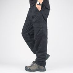 Winter Double Layer Thick Cargo Pants Warm Baggy Pants Cotton Trousers