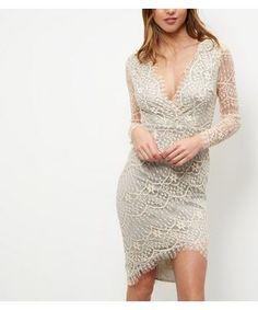 AX Paris Stone Lace Wrap Long Sleeve Dress | New Look