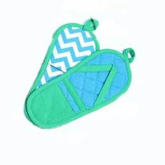 "Green Flip Flop Pot Holder Set of 2 - These oven mitt features a design of colorful flip flops. Measures about  12"" tall with loop for hanging. 100% Cotton op Pot Holder Set – Green – 60853-Green  $10.99"