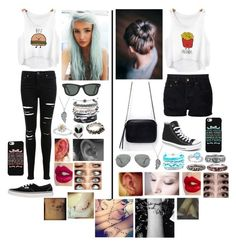 """""""Best Friends"""" by victoria-rose-a ❤ liked on Polyvore featuring Miss Selfridge, NSF, Vans, Converse, Zara, Ray-Ban, Bling Jewelry, Domo Beads, Daisy Jewellery and Werkstatt:München"""