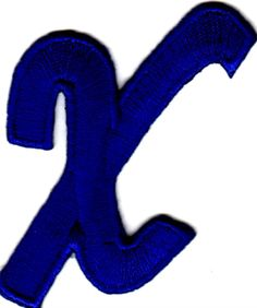 """Amazon.com: [Single Count] Custom and Unique (2 1/4"""" by 1 1/2"""" Inches) American Alphabet Letters Fancy Script Bold Letter X Iron On Embroidered Applique Patch {Blue Color}: Arts, Crafts & Sewing"""