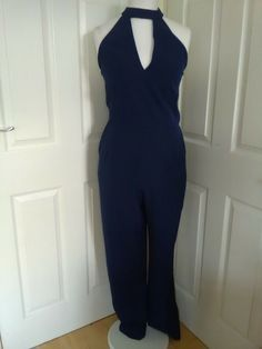 7a38e5cc9b09 ladies NWT Lavish Alice uk size 16 navy polyester choker neck jumpsuit   fashion  clothing  shoes  accessories  womensclothing  jumpsuitsrompers (ebay  link)