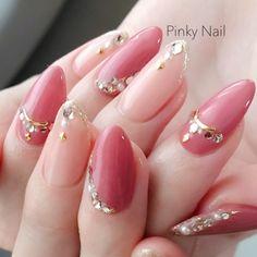 Sparkle Nails, Fancy Nails, Bling Nails, Long Round Nails, Round Shaped Nails, Cute Almond Nails, Paris Nails, Natural Nail Art, Korean Nails