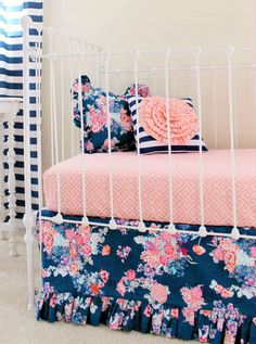 Coral and Navy Baby Girl Bedding, Stripe and Floral Chic, Coral and Navy Nursery, Bumperless crib bedding, Peach Crib Set, Navy Stripe, by LottieDaBaby on Etsy https://www.etsy.com/listing/249856045/coral-and-navy-baby-girl-bedding-stripe