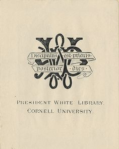 [Bookplate of the President White Library] by Pratt Libraries, via Flickr