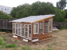 DIY greenhouse from salvaged & recycled materials. Great idea, where are people getting these recyclable materials?