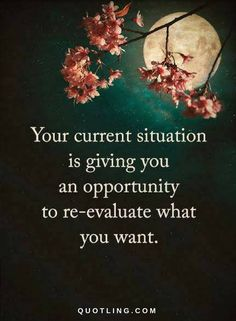 Quotes Your current situation is giving you an opportunity to re-evaluate what you want.