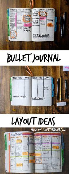 Bullet Journal Layout Ideas http://www.shutterbean.com/2017/bullet-journal-layout-ideas/