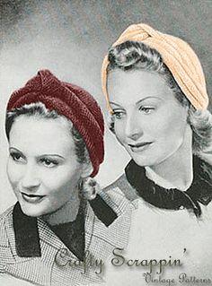 Vintage 1940's Knit Yourself A Turban Pattern by aishaalobeidy