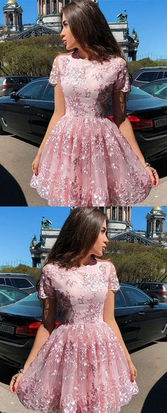 Cute A Line Round Neck Cap Sleeves Pink Lace Short Homecoming Dresses, Formal Short Prom Dresses - Vestidos Dresses Elegant, Trendy Dresses, Cute Dresses, Beautiful Dresses, Fashion Dresses, Semi Formal Dresses For Teens, Dresses Dresses, Short Formal Dresses, Ball Dresses
