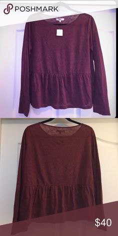 Madewell long-sleeve peplum top, wine red, size s NWT. Lightweight cotton-tee in beautiful color. Runs on the smaller side - would fit a xs/s better than s/m. Madewell Tops