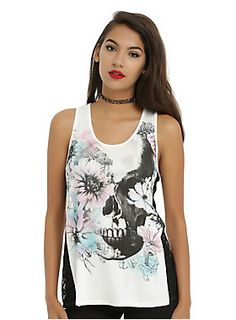 <p>When you wear this tank you'll show you can be artsy, tough and feminine all at once. Racer back tank features a watercolor skull and floral print, with black side lace detail. </p>  <p>Hot Topic exclusive!</p>  <ul> 	<li>95% cotton; 5% modal</li> 	<li>Wash cold; dry flat</li> 	<li>Made in USA</li> 	<li>Listed in junior sizes</li> </ul>