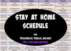 Schedule for preschool, toddler, baby