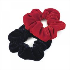 Pack of 2 Red and Navy Velvet Feel Hair Scrunchies Bobbles Hair Bands * Check this awesome product by going to the link at the image. #hairgrowth